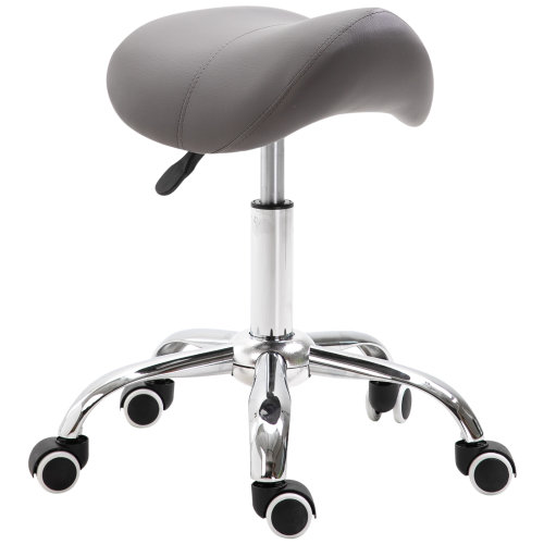 HOMCOM PU Leather Saddle Stool w/ Moulded Padded Seat Adjustable Height Grey
