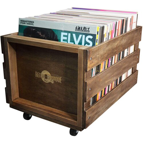 Wooden LP Record Storage Crate on Wheels for up to 100 albums