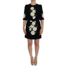 Black Chamomile Print Wool Stretch Dress