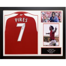 Framed Robert Pires signed Arsenal shirt with COA and proof