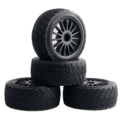 WR8 Tarmac Wheel With Tires For HPI Rally Off Road WR8 Tyres Pack Of 4 Black