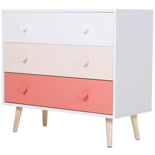 HOMCOM Children Chest Of 3 Drawers Cabinet Storage Heart Handle Kids Bedroom Furniture  Colorful White & Pink 90 x 42 x 80 cm