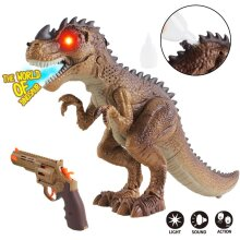 deAO Intelligent T-Rex Dinosaur Shooter Hunter Toy with Walking, Simulated Roaring and Fire Breathing Effects with Toy Gun Included