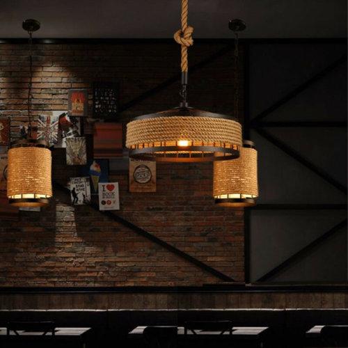 Large Chandelier Hemp Rope Coffee Ceiling Lamp Pendant Hotel Light