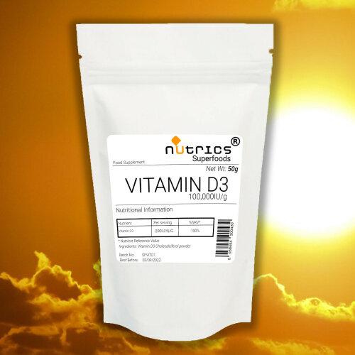 Nutrics® 100,000IU VITAMIN D3 Cholecalciferol 50g Powder Pharma Grade