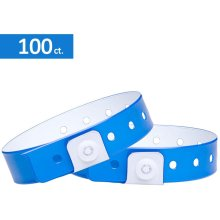 OUCHAN Plastic Wristbands Neon Blue - 100 Pack Vinyl Wristbands for Events Tri-Layer and Waterproof