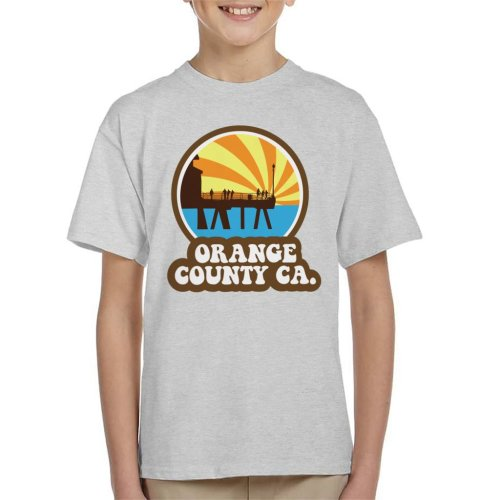 (Small (5-6 yrs), Heather Grey) Orange County CA Retro Kid's T-Shirt