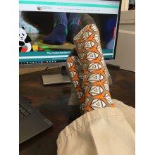 Stylish and Unique Orange & Grey Geometric Sock