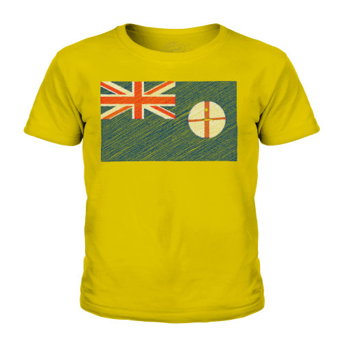 (Gold, 11-12 Years) Candymix - New South Wales Scribble Flag - Unisex Kid's T-Shirt