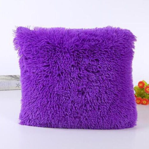 (Purple) Square Fluffy Fur Plush Waist Throw Pillow Case Cushion Cover Sofa Home Decor