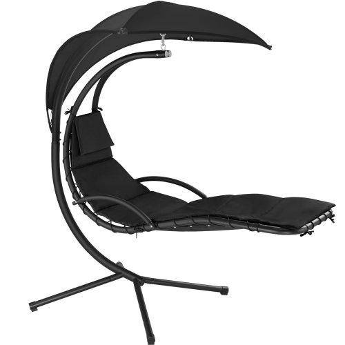 tectake Garden swing chair Maja - swing chair, hanging chair, hanging garden chair - black
