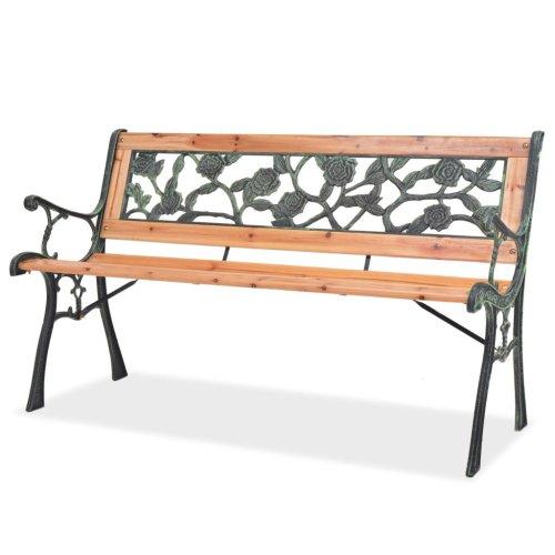 vidaXL Garden Bench 122cm Wood Rose-patterned Backrest Outdoor Patio Park Seat