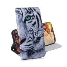 Phone Case For Samsung Galaxy A01 Core magnetic wallet PU leather flip cover with Tiger