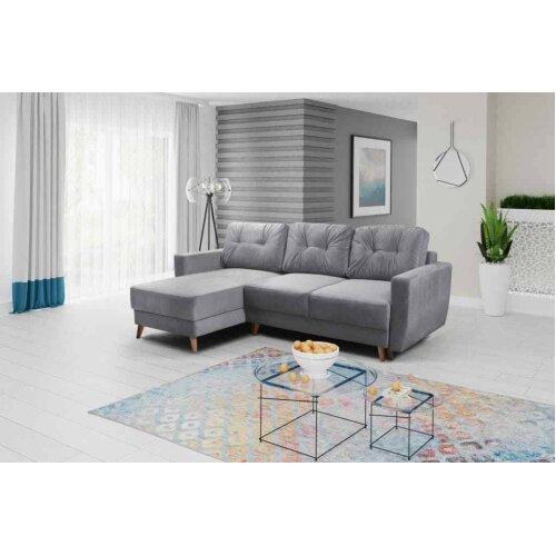 Universal Corner Sofa Bed RETRO with Storage, Fabric in Light Grey