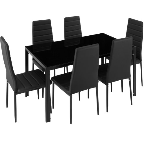 Dining table and chair SET Brandenburg 6+1 black