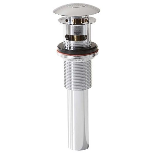 8.75 x 2.75 in. Drain Umbrella Push Button with Overflow, Polished Chrome