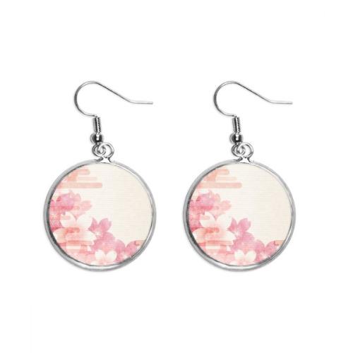 Sakura Flower Pink Pattern Japan Ear Dangle Silver Drop Earring Jewelry Woman