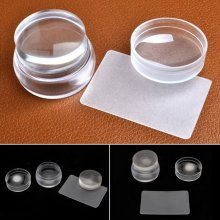 Nail Art Clear Jelly Head Silicone Stamper Scraper Transparent Stamping Seal Set