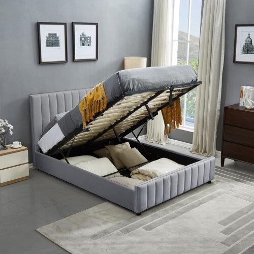 (Double ( 4 ft. 6 in. )) Luxury Life Sofia Grey Velvet Storage Ottoman Bed