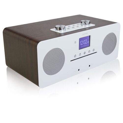 (Walnut) Denver MIR-260 CD Player, Digital DAB+ & WiFi Internet Radio - With FM Radio, Bluetooth 5.0, AUX IN, 2.4 inch colour screen & Remote Control