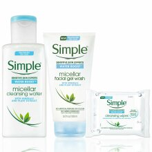 Simple Water Boost Micellar Cleansing Water, Wipes & Face Wash