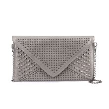 VK5295 Grey - Studded Detail Envelope Clutch Bag With Chain Strap