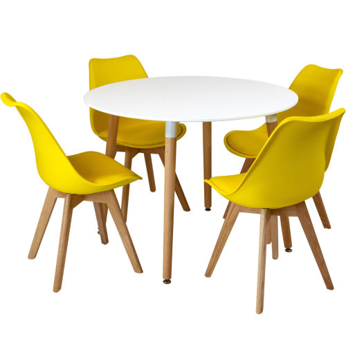 (Yellow) Circular Dining Table Set Four 4 Dinner Kitchen Chairs White Solid Beech Wood