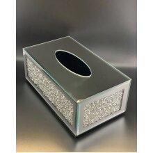ITALIAN MIRROR TISSUE BOX HOLDER COVER CRYSTAL CRUSHED DIAMOND