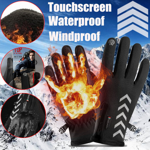 (Black, L) Winter Men Gloves Reflective Waterproof Windproof