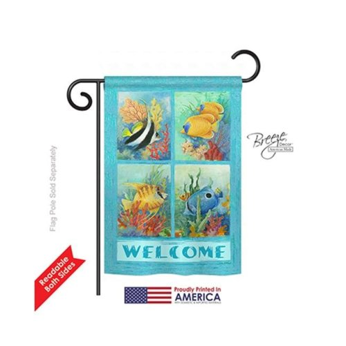 Breeze Decor 57051 Beach & Nautical Tropical Fish Collage 2-Sided Impression Garden Flag - 13 x 18.5 in.