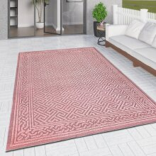 Outdoor Rug Pink Large XL Small for Garden Patios Decking Gazebo Monochrome Soft Woven Greek Key Geometric Mat