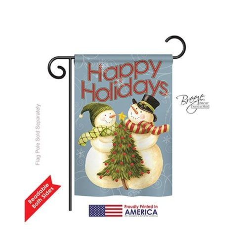 Breeze Decor 64102 Christmas Happy Holidays Tree 2-Sided Impression Garden Flag - 13 x 18.5 in.