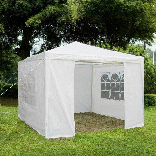 (White) Gr8 Garden Outdoor Gazebo With Sides - 3x3m