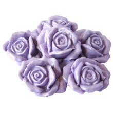 6 Large Edible Rose Flower Cake Toppers Decorations