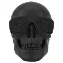Wokex Black Skull Head Speaker Portable Mini Wireless Bluetooth Stereo Speaker HD Sound Unique Enhanced Bass Sunglass Skull Shape Speaker Portable