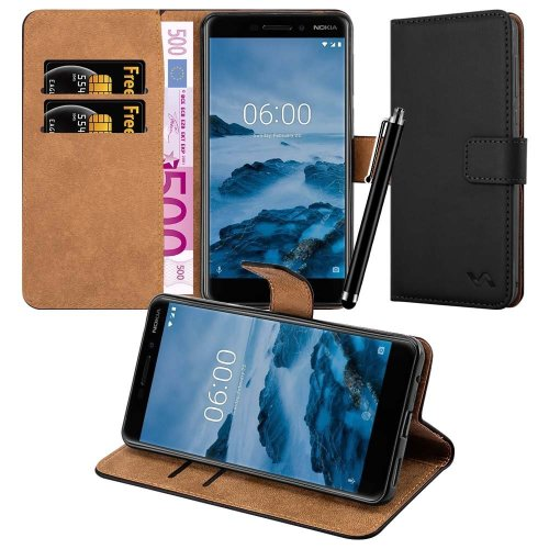 For Nokia 6 2018 Premium Leather Wallet Case Cover
