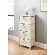 Juliet 4 Drawer Basket Unit Wicker basket Style With Natural Lining and Bow Ties W40 X D29 X H83cm (Approx.)