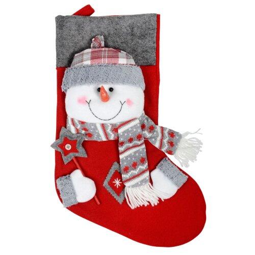 43cm Fabric 3D Frosty Snowman Stocking Christmas Xmas Gift Present Decoration