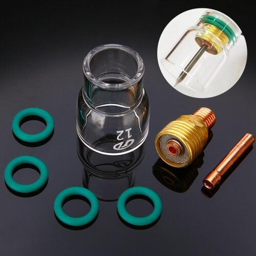 (As Seen on Image) Pyrex Glass Cups Kit Stubby Collets Body Gas Lens Tig Welding Torch (2.4mm)