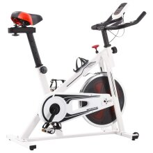 Exercise Spinning Bike with Pulse Sensors White and Red