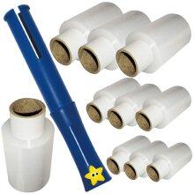 10 x Mini Rolls Hand Pallet Cling Film Shrink Wrap 100mm x 150m (17mu) & 1 Handy Dispenser