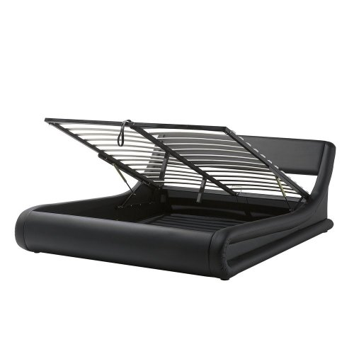 Faux Leather Super King Bed with Storage Black AVIGNON