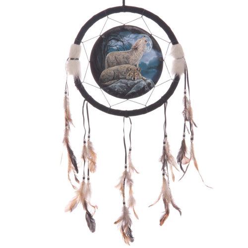 Decorative Mystical Wolf Pair 34cm Dreamcatcher