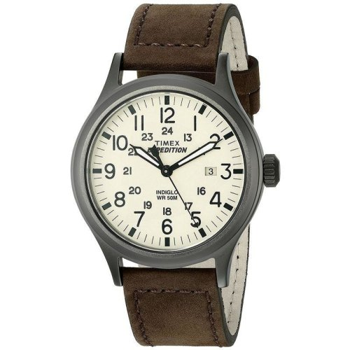 Timex Mens Quartz Watch Timex Expedition Scout with Leather Strap (Model T49963)