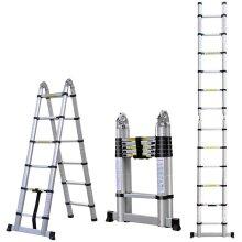 (3.8M(1.9M+1.9M)  Flexible Ladder Multi-Purpose EN131 Certified) Aluminium Telescopic Ladder Foldable Folding Ladder