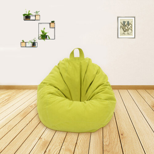 (Green) Adults Kids Large Bean Bag Sofa Cover Indoor Lazy Lounger
