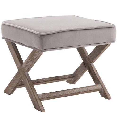 HOMCOM Vintage Footstool Padded Seat X Shape Chair Velvet Cover Shabby Grey