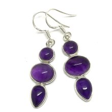 Amethyst gemstone drop earrings, multistone, solid Sterling silver.