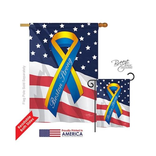 Breeze Decor 08159 Boston Strong 2-Sided Vertical Impression House Flag - 28 x 40 in.