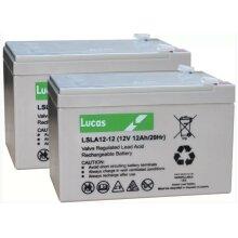 LUCAS LSLA12-12 BATTERIES 12V 12AH x 2